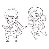 Vector hand drawn monochrome illustration of two happy super hero kid Royalty Free Stock Photos