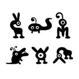 Vector hand drawn monsters black monochrome vector illustration