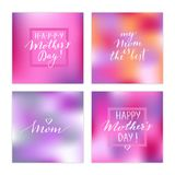 Mother`s day cards. Vector hand drawn Mother`s day cards. Modern calligraphy, lettering, colorful background Royalty Free Stock Image