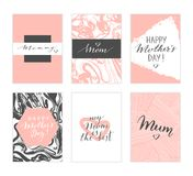 Mother`s day cards. Vector hand drawn Mother`s day cards. Modern calligraphy, lettering, marble texture Stock Photography
