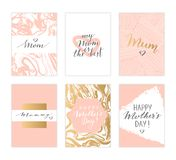 Mother`s day cards. Vector hand drawn Mother`s day cards. Modern calligraphy, lettering, marble texture Royalty Free Stock Photography