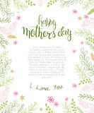 Vector hand drawn mothers day blank surround with branches, swirls, flowers and quote - happy mothers day. Can be used as mothers Stock Photography