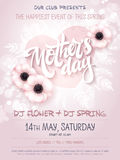Vector hand drawn mothers day event poster with blooming anemone flowers, heart shaped frame, hand lettering text - vector illustration