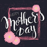 Vector hand drawn mothers day lettering with branches, swirls, flowers and quote - happy mothers day. Can be used as stock illustration