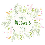 Vector hand drawn mothers day lettering circled composition surround with branches, swirls, flowers and quote - happy Royalty Free Stock Photo