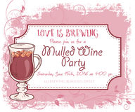 Vector hand drawn mulled wine party invitation card, vintage frame, glass and leaves Stock Image