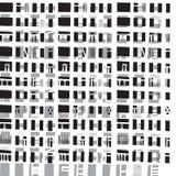 Vector hand-drawn naadloos patroon met abstract stedelijk ornament stock illustratie