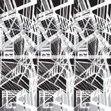 Vector hand-drawn naadloos patroon met abstract stedelijk ornament Stock Foto's