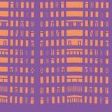 Vector hand-drawn naadloos patroon met abstract stedelijk ornament Stock Foto