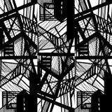 Vector hand-drawn naadloos patroon met abstract stedelijk ornament royalty-vrije illustratie