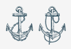 Vector hand drawn nautical anchor. Vintage sketch element ship, travel Stock Photography