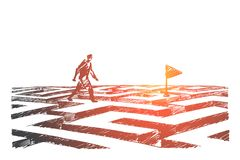 Hand drawn man walking on maze to navigation flag. Vector hand drawn navigation concept sketch. Man walking alone above maze towards navigation flag Stock Photo