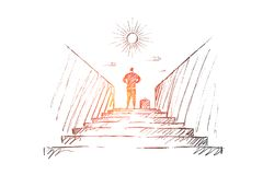 Vector hand drawn new work concept sketch. Bisinessman standing backwards at top of stairway and looking at the Sun Stock Photos