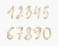 Vector hand drawn numbers. Golden elements for backgrounds of flyers, posters, invitations, cards. Vector hand drawn numbers. Golden elements for backgrounds of Royalty Free Stock Photo