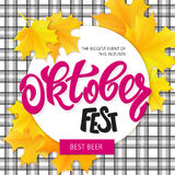 Vector hand drawn oktoberfest lettering label with leaves on cheked background Royalty Free Stock Images