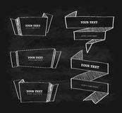 Vector hand-drawn origami banner chalkboard. Scribble  design set Stock Photography