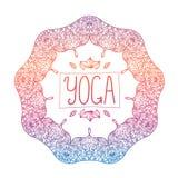 Vector hand drawn ornamental colorful yoga badge Stock Photography