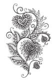 Vector hand drawn ornate floral pattern in zentangle style Stock Photography