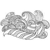Vector hand drawn outline abstract ornamental ethnic stripe background. Book for adults. Coloring pages.Vector hand drawn outline abstract ornamental ethnic Stock Photo