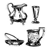 Vector hand drawn outline ink set of old decorative metal utensils vector illustration