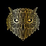 Vector hand drawn Owl face. Zentangle art. Ethnic patterned illustration for antistress coloring book, tattoo, poster, print. royalty free stock photo