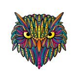 Vector hand drawn Owl face. Zentangle art. Ethnic patterned illustration for antistress coloring book, tattoo, poster, print. royalty free stock photography