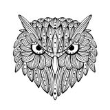 Vector hand drawn Owl face. Zentangle art. Ethnic patterned illustration for antistress coloring book, tattoo, poster, print. royalty free stock image