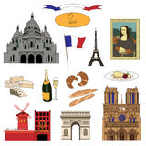 Vector hand-drawn Paris landmarks and food illustration colorful set Stock Images