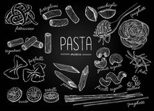 Vector hand drawn pasta menu. Vintage chalkborad line art illust Royalty Free Stock Photos