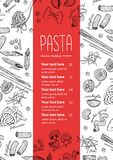 Vector hand drawn pasta menu. Vintage  line art illustration Royalty Free Stock Photography