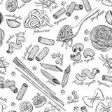 Vector hand drawn pasta pattern. Vintage line art illustration Stock Photos