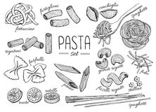 Vector hand drawn pasta set. Vintage line art illustration royalty free illustration