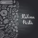 Vector hand drawn pasta types on chalkboard royalty free illustration