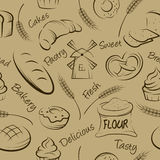 Vector hand drawn pastries seamless pattern. Stock Photo