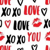 Vector hand-drawn patroon met elementen: inschrijving & x22; liefde you& x22; , kus & x28; afdruk van lipstick& x29; , hart Stock Foto