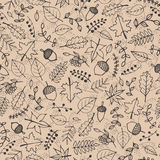 Vector hand drawn pattern with autumn elements contours Royalty Free Stock Images