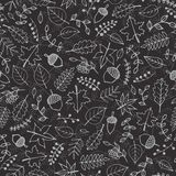 Vector hand drawn pattern with autumn elements contours: foliage, berries and acorns on the gray background. Chalkboard imitation Royalty Free Stock Photos