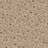 Vector hand drawn pattern with autumn oak leaves and acorns contours on the beige background. Fall ornament with foliage vector illustration