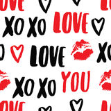 Vector hand-drawn pattern with elements: inscription 'love you', kiss ( imprint of lipstick), heart. Stock Photo