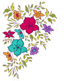 Vector hand-drawn pattern with flowers and leaves. Colorful flor Royalty Free Stock Image