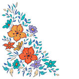 Vector hand-drawn pattern with flowers and leaves. Colorful flor Royalty Free Stock Photography