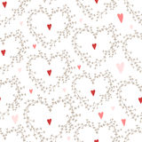 Vector hand drawn pattern with wreaths and red hearts. Royalty Free Stock Photos