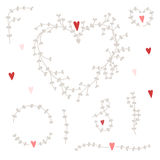 Vector hand drawn pattern with wreaths and red hearts.set Stock Image