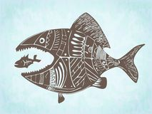 Vector hand drawn patterned fishes Royalty Free Stock Photos