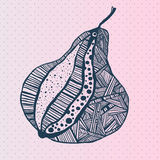 Vector hand drawn pear. With polka dot Royalty Free Stock Photography