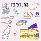 Vector hand drawn perfect cake recipe. Doodle illustration. Cake recipe in doodle style. Vector illustration.  royalty free illustration