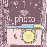 Vector hand drawn photo camera with text Stock Images
