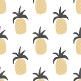 Vector hand drawn pineapple seamless pattern in ethnic tribal st Royalty Free Stock Images