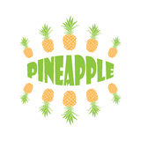Vector hand drawn pineapple with typography. Vector background or banner Royalty Free Stock Photos