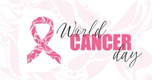 Vector hand-drawn Pink ribbon on white background. Breast cancer awareness month. royalty free stock images